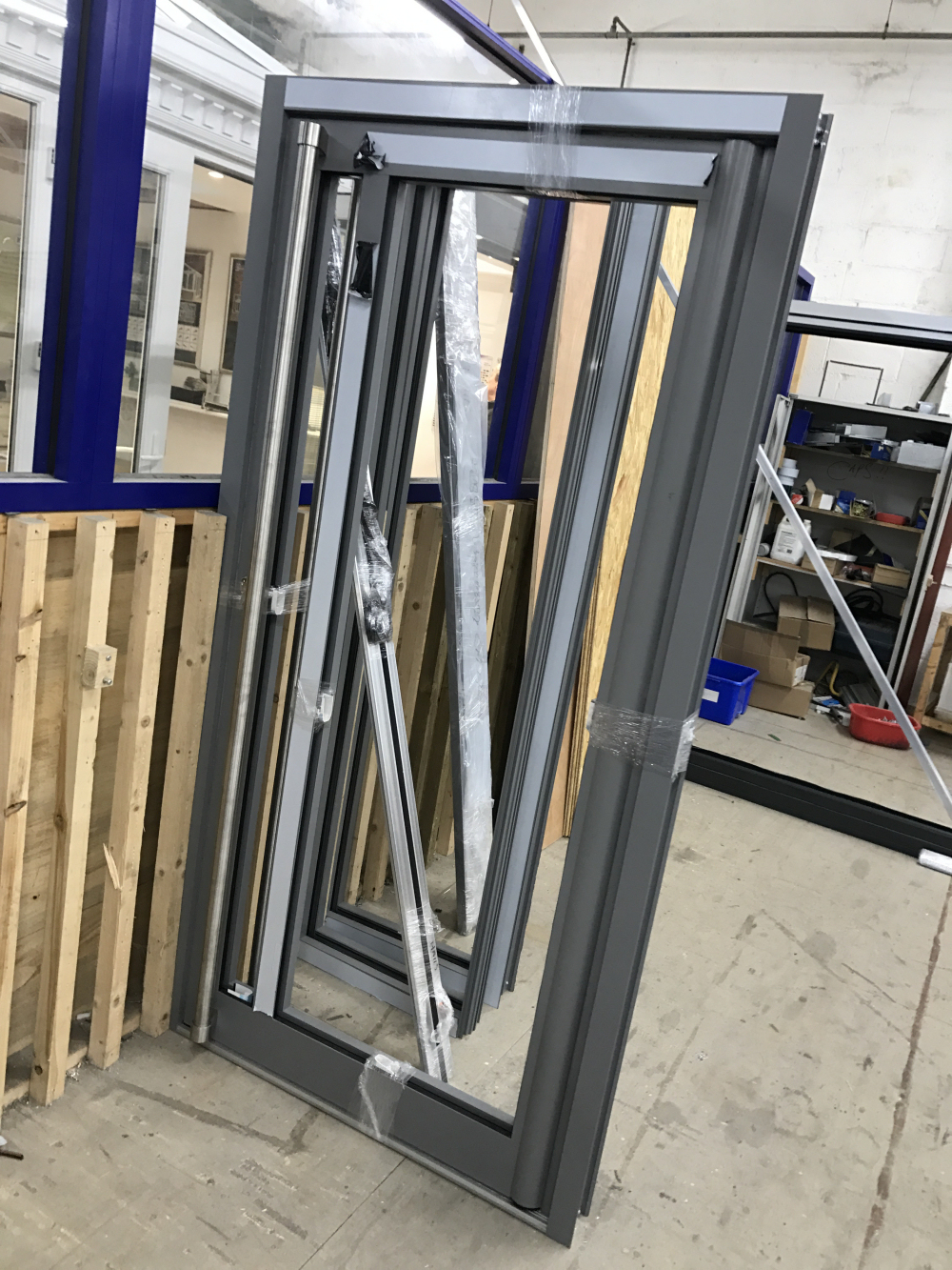 Commercial Door And Sidelights Awaiting Despatch.